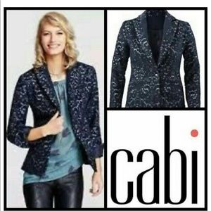 CAbi Jacquard Blazer Navy Blue Wool Lined
